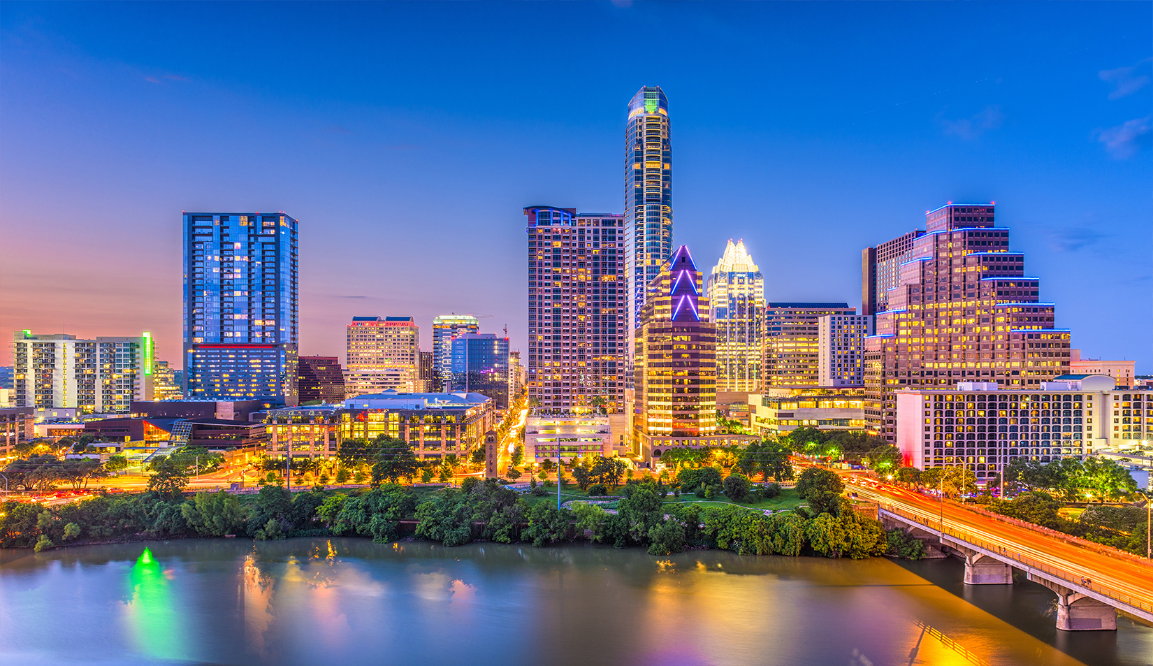 View of Austin's glassy and fast-growing skyline